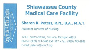 Mrs Sharon K Peters Shiawassee County Medical Care Facility Michig